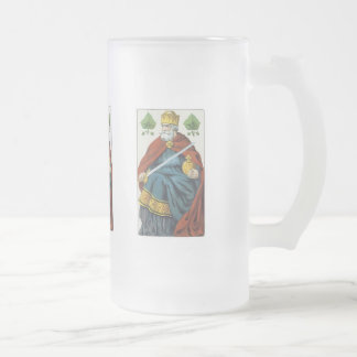 King With Sword 16 Oz Frosted Glass Beer Mug