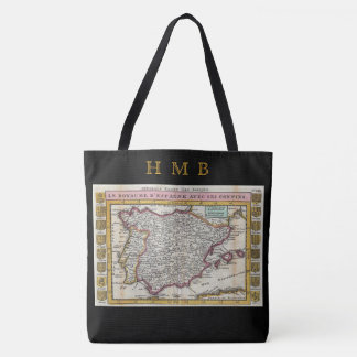 Kingdom of Spain Spanish Vintage Old World Map Tote Bag