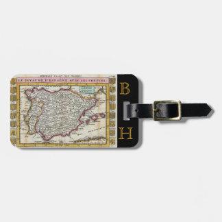 Kingdom of Spain Vintage Old World Map Monogram Luggage Tag