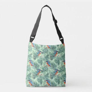 Kingfisher. Bird and leaves Crossbody Bag