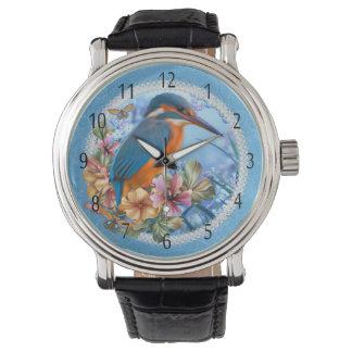 Kingfisher Bird Art Vintage Leather Strap Watch