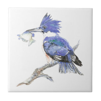 Kingfisher, Bird, Nature, Watercolor Animal Ceramic Tile