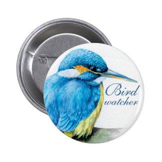Kingfisher bird watcher button/badge 6 cm round badge