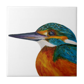 Kingfisher Bird Watercolor Halcyon Bird Ceramic Tile