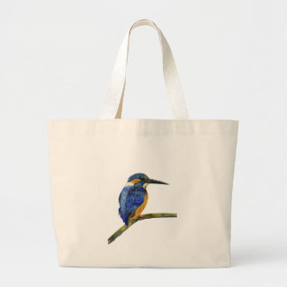 Kingfisher Bird Watercolor Halcyon Bird Large Tote Bag