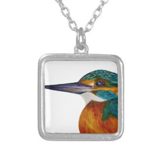 Kingfisher Bird Watercolor Halcyon Bird Silver Plated Necklace