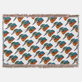Kingfisher Bird Watercolor Halcyon Bird Throw Blanket