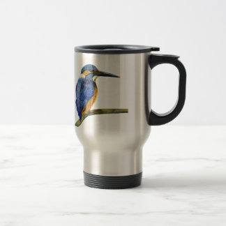 Kingfisher Bird Watercolor Halcyon Bird Travel Mug