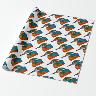 Kingfisher Bird Watercolor Halcyon Bird Wrapping Paper