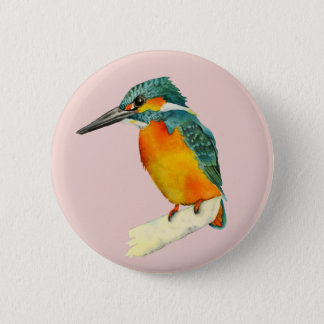 Kingfisher Bird Watercolor Painting 6 Cm Round Badge