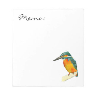 Kingfisher Bird Watercolor Painting Notepad