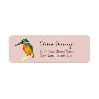 Kingfisher Bird Watercolor Painting Return Address Label
