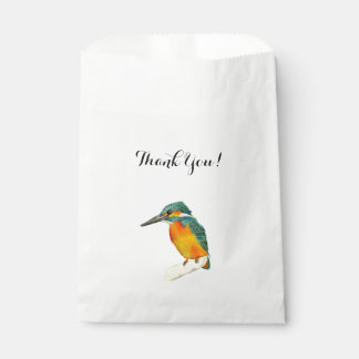 "Kingfisher Bird Watercolor Painting ""Thank You"" Favour Bag"