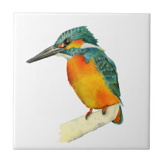 Kingfisher Bird Watercolor Painting Tile