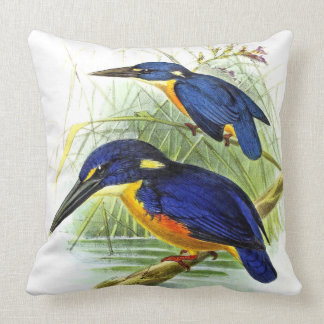 Kingfisher Birds Wildlife Animal Pond Throw Pillow