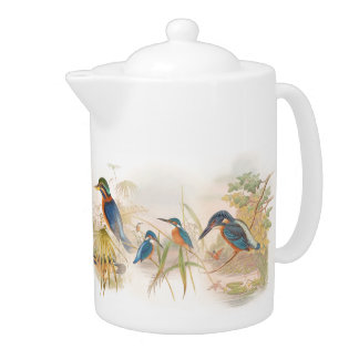 Kingfisher Birds Wildlife Animals Pond Teapot