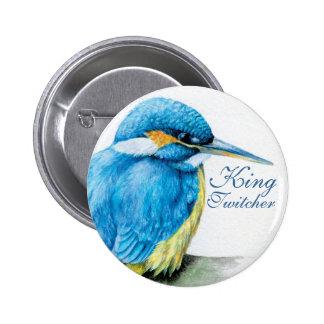 Kingfisher King Twitcher button/badge 6 Cm Round Badge