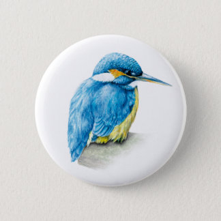 Kingfisher Watercolor art button/badge 6 Cm Round Badge