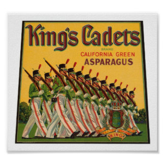 Kings Cadets Asparagus Vintage Crate Label Posters
