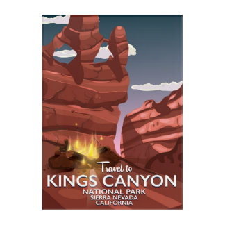Kings Canyon Sierra Nevada Travel poster Acrylic Print