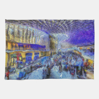 Kings Cross Rail Station London Art Tea Towel