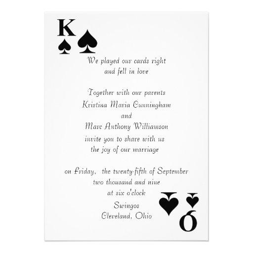 Kings & Queens Wedding Invitation (Spades)