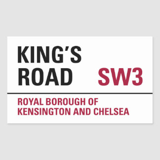 Kings Road Sign (pack of 4) Rectangular Sticker