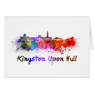 Kingston Upon Hull skyline in watercolor Card