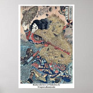 Kinhyoshi hero of Suikoden by Utagawa,Kuniyoshi Print