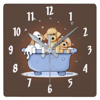 KiniArt Bath Doods Square Wall Clock