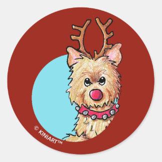 KiniArt Christmas Cairn Reindeer Classic Round Sticker