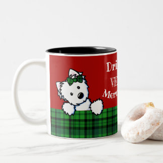 KiniArt Christmas Westies Two-Tone Coffee Mug