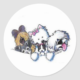 KiniArt Dog Grouping Classic Round Sticker