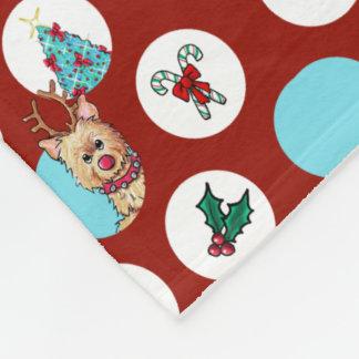 KiniArt Dogs Snowman Christmas Fleece Blanket