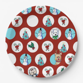 KiniArt Dogs Snowman Christmas Paper Plate