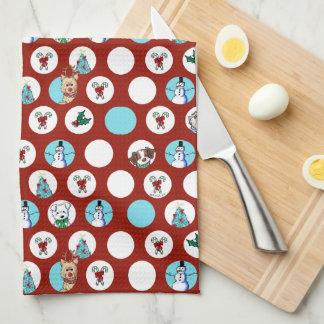 KiniArt Dogs Snowman Christmas Tea Towel