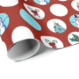 KiniArt Dogs Snowman Christmas Wrapping Paper