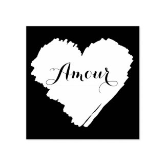 KiniArt French Heart Rubber Stamp