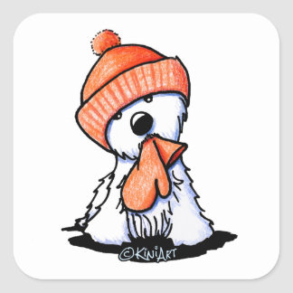 KiniArt Orange Winter Westie Square Sticker