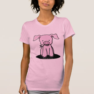 KiniArt Piglet Ladies Twofer Sheer Fitted T-shirt