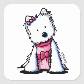 KiniArt Pink Dress Westie Square Sticker