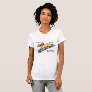KiniArt Skiing Doodle Dog T-Shirt