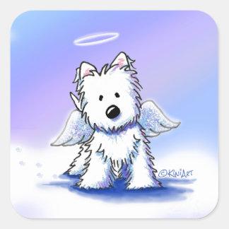KiniArt Westie Angel Square Sticker