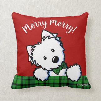 KiniArt Westie Boy & Girl Christmas Cushion