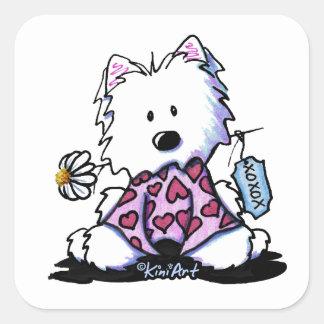 KiniArt Westie Flowers XOX Square Sticker