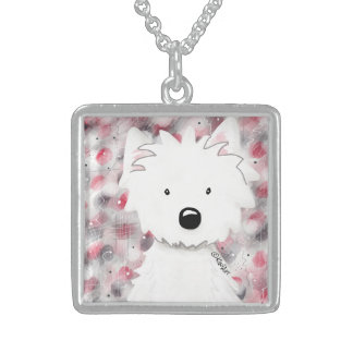 KiniArt Westie Impressions 2 Sterling Silver Necklace
