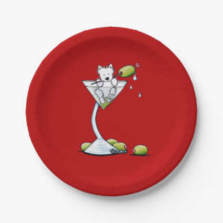 KiniArt Westie Martini 7 Inch Paper Plate