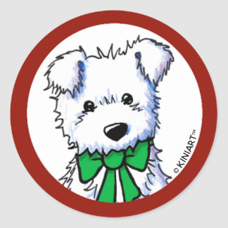 KiniArt Westie Puppy Classic Round Sticker