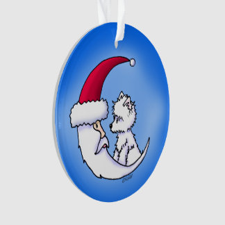 KiniArt Westie Santa Moon Ornament