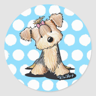KiniArt Yorkie Darlin' May Classic Round Sticker
